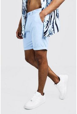 Mens Pale blue Skinny Fit Chino Short In Mid Length