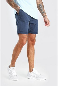 Navy Skinny Fit Chino Short In Mid Length