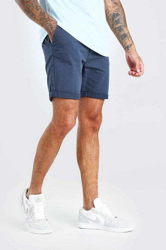 Mens Navy Skinny Fit Chino Short In Mid Length