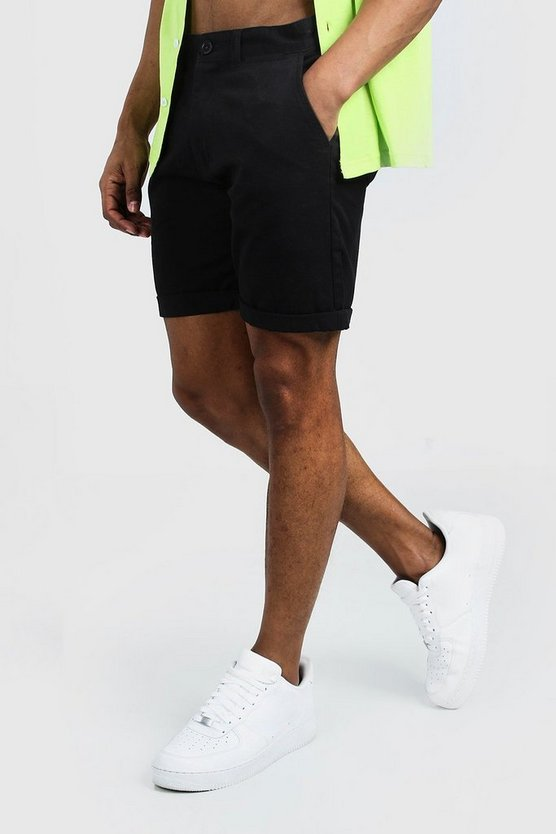 Mens Black Skinny Fit Chino Short In Mid Length