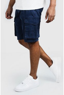 Mens Navy Washed Cotton Slim Fit Cargo Short
