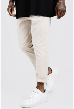Mens Stone Tapered Chino With Pleat Front