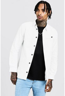 Mens White Cotton Twill 4 Pocket Shacket