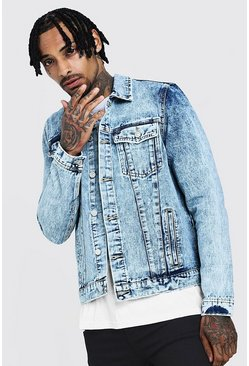 Mens Washed blue Regular Denim Western Jacket