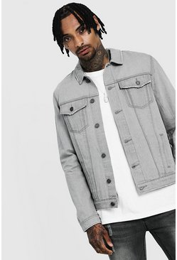 Mens Light grey Regular Denim Western Jacket