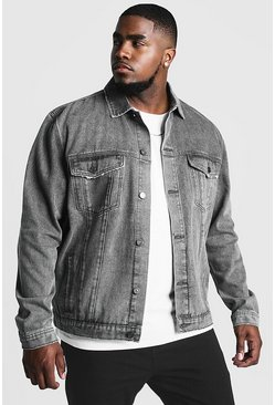Charcoal Plus Size Denim Western Jacket