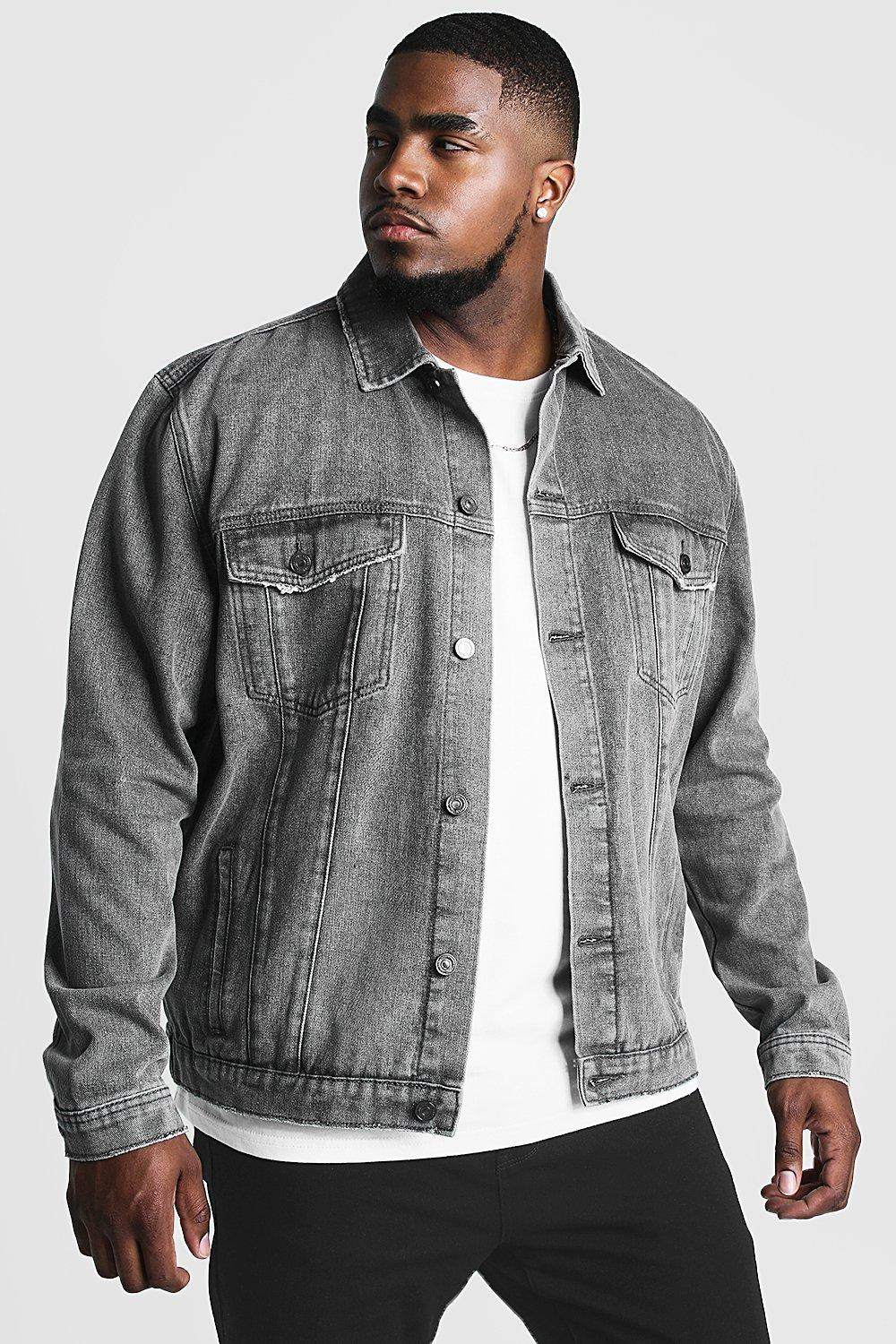 7323ece2 Mens Charcoal Big & Tall Denim Western Jacket. Hover to zoom