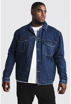 Mens Washed indigo Big & Tall Denim Western Jacket