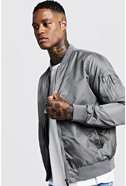 Mens Grey Nylon MA1 Bomber Jacket