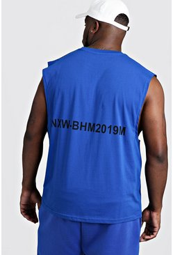 Mens Cobalt Big & Tall MAN Branded Tank With Back Print