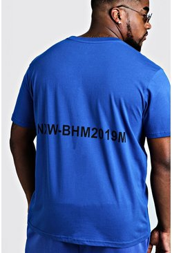 Mens Cobalt Big & Tall MAN Branded T-Shirt With Back Print