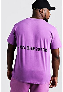 Mens Violet Big & Tall Man Branded T-Shirt With Back Print