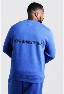 Mens Cobalt Big & Tall Branded Sweater With Back Print