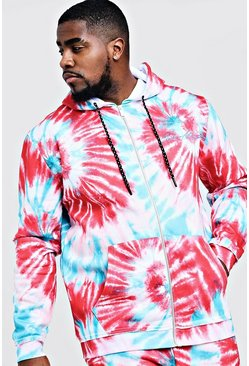 Mens Blue Big & Tall MAN Embroidered Hoodie In Tie Dye