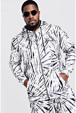 Mens Black Big & Tall MAN Embroidered Hoodie In Tie Dye