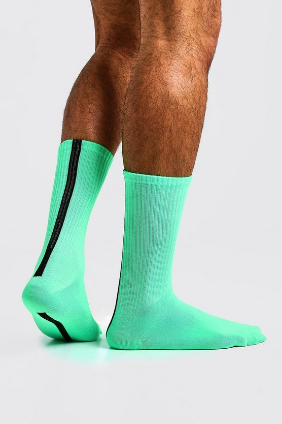Mens Neon-green Neon and Spot Stripe Tube Socks