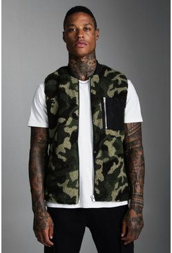 Mens Green Borg Gilet In Camo With Contrast Pocket