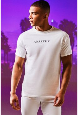 Mens White Anarchy Print T-Shirt