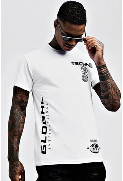 Mens White Multi Graphic Print T-Shirt