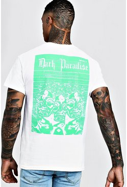Mens White Front & Back Print Dark Paradise T-Shirt