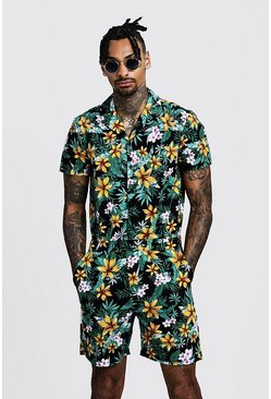 Mens Black Floral Print Revere Collar Short Jumpsuit