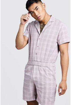 Mens Dusky pink Prince Of Wales Check Short Jumpsuit