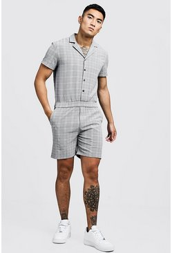 Mens Black Prince Of Wales Check Short Jumpsuit