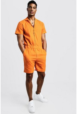 Mens Orange Revere Collar Short Jumpsuit