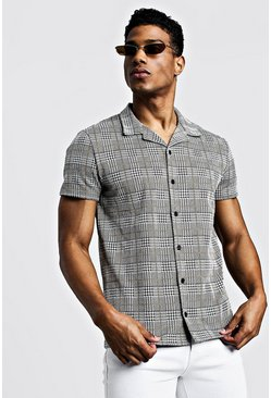 Mens Mustard Jacquard Check Short Sleeve Revere Shirt
