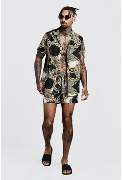 Mens Black Baroque Print Shirt & Swim Set