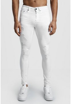 Mens White Spray On Skinny Jeans With Distressing