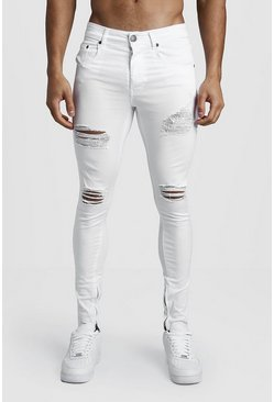 Mens White Super Skinny Jeans With Distressed Knees