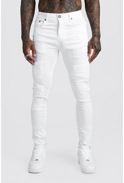 Mens White Skinny Fit Jeans With Rip And Repair