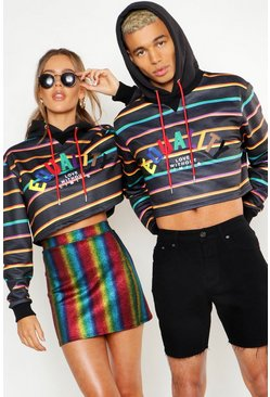 Mens Black Pride Loose Fit Cropped Stripe Hoodie