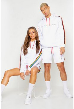 Mens White Pride Loose Fit Short Tracksuit With Rainbow Tape