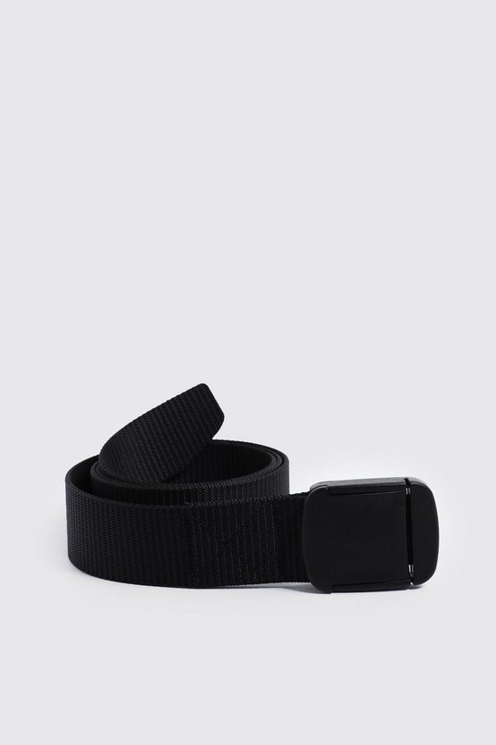 Mens Black Covered Buckle Nylon Tape Belt