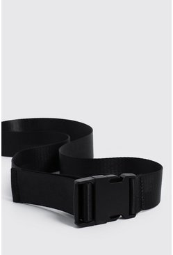 Mens Black Release Buckle Tape Belt