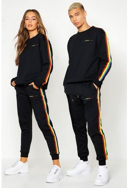Mens Black Pride Loose Fit Tracksuit With Rainbow Tape