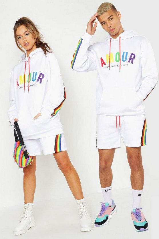 Mens White Pride Loose Fit Short Tracksuit With Amour Print