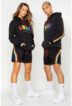 Mens Black Pride Loose Fit Short Tracksuit With Amour Print