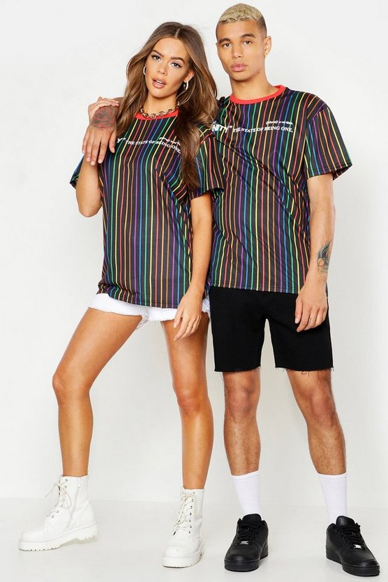Black Pride Loose Fit Stripe T-Shirt With Unity Print