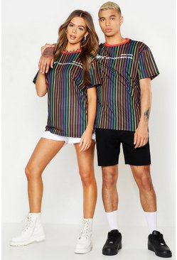 Mens Black Pride Loose Fit Stripe T-Shirt With Unity Print