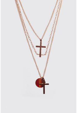 Gold Multi Layer Cross Necklace