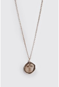 Mens Gold Cross Emboss Coin Necklace