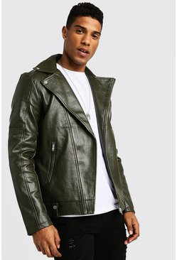 Mens Khaki Faux Leather Biker Jacket