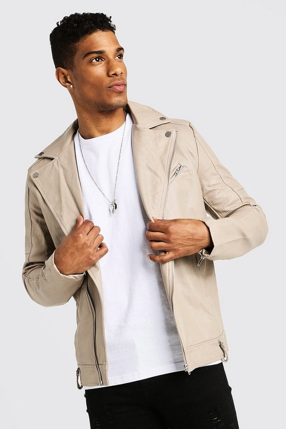Mens Beige Faux Leather Biker Jacket