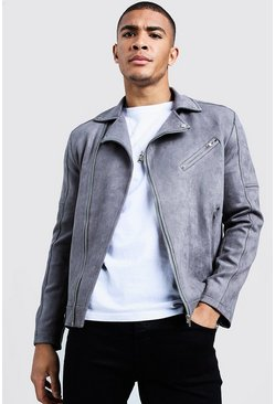 Mens Charcoal Faux Suede Biker Jacket