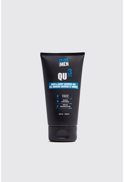Mens White Zeos QU3 Hair & Body Shower Gel