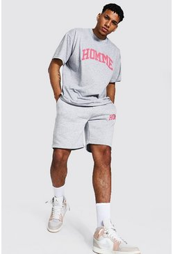 Grey marl Oversized Homme T-shirt Short Set