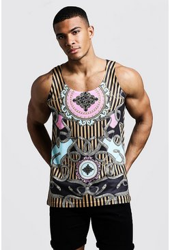 Mens Black Baroque Snake Design Vest